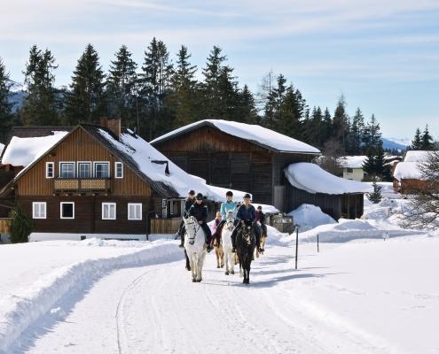 Reiter mit Pferden auf Winterwanderweg in Ramsau am Dachstein